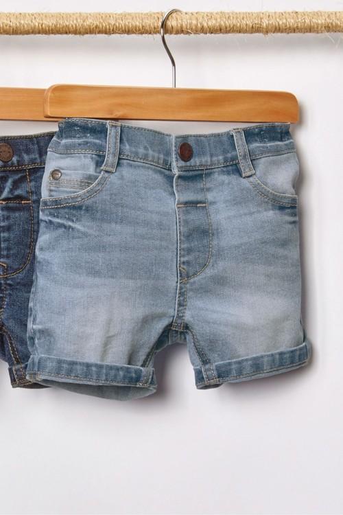 Next Light Blue Denim Shorts With Stretch
