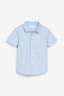 Next Blue Short Sleeve Oxford Shirt (3mths-7yrs) - 243555