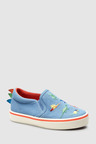 Next Blue Embroidery Slip-Ons