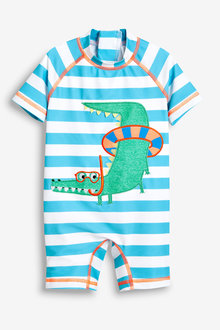 Next Blue Stripe Crocodile Sunsafe Suit - 243567