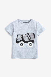Next Grey Flippy Sequins Vehicle T-Shirt - 243587