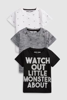 Next Short Sleeve Three Pack Slogan T-Shirts (3mths-7yrs) - 243595