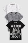 Next Short Sleeve Three Pack Slogan T-Shirts (3mths-7yrs)