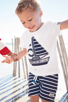 Next Applique Boat T-Shirt And Shorts Set (3mths-7yrs) - 243603