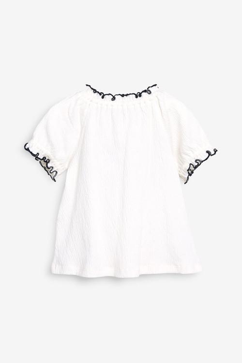 Next Ecru Embroidered Short Sleeve Blouse