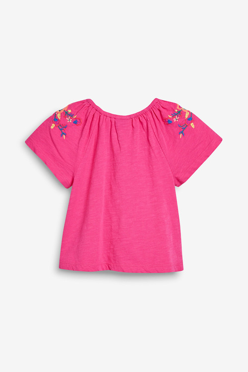 Next Bright Pink Embroidered Blouse (3mths-7yrs)