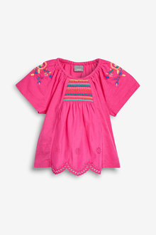 Next Bright Pink Embroidered Blouse - 243626