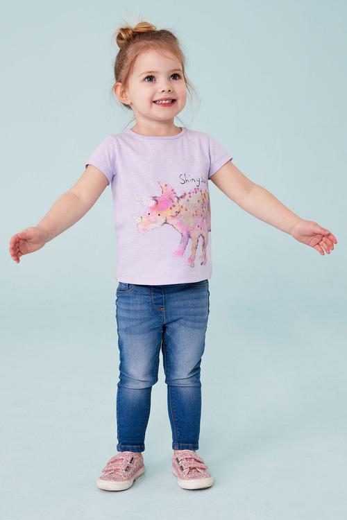 Next Lilac Glitter Dinosaur Short Sleeve T-Shirt
