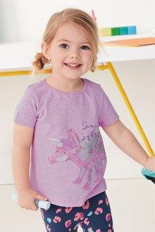 Next Lilac Glitter Dinosaur Short Sleeve T-Shirt - 243627