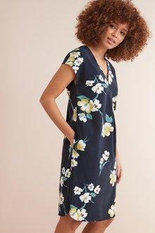 Next Navy Floral V-Neck Crepe Shift Dress - 243697