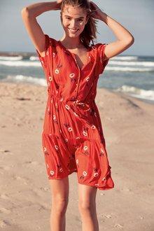 Next Orange Lace Trim Drawstring Dress - 243713