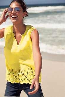 Next Yellow Broderie Shell Top - 243716
