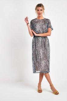 Next Mesh Midi Dress - 244009