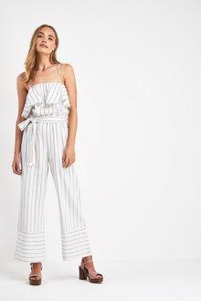 Next Stripe Cold Shoulder Linen Jumpsuit