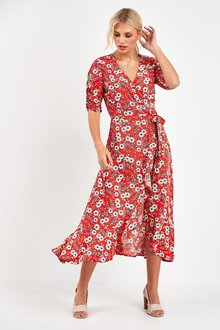 Next Puff Sleeve Wrap Dress - 244027