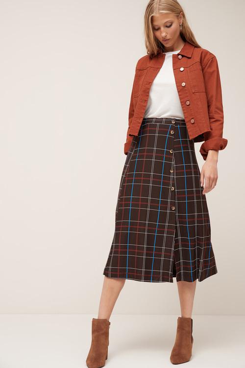 Next Button Midi Skirt