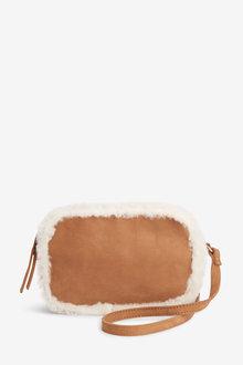 Next Leather Shearling Trim Camera Bag