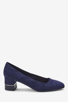 Next Square Toe Block Court Shoes-Wide