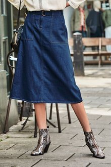 Next Belted Denim Midi Skirt-Tall