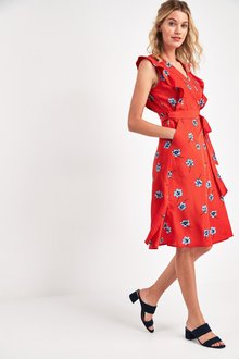 Next Ruffle Wrap Dress - 244130