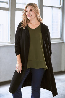 Plus Size - Sara Merino Long Cardi