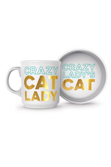 Fred Crazy Cat Lady Bowl and Mug Set