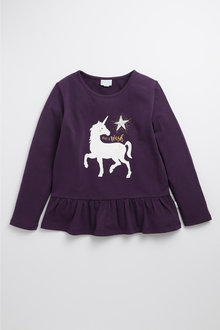 Pumpkin Patch Unicorn Frill Print Top