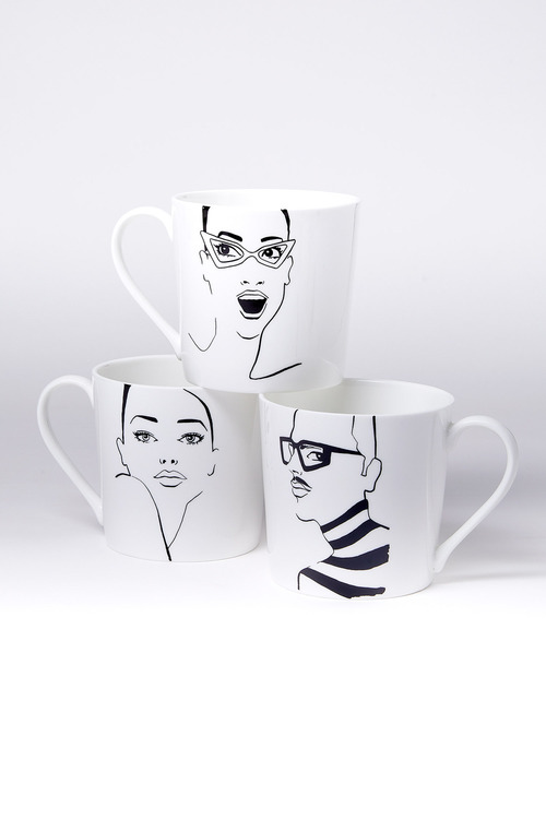 Jayson Brunsdon Beautiful Hipster Cateyes Art Mugs Set of Three