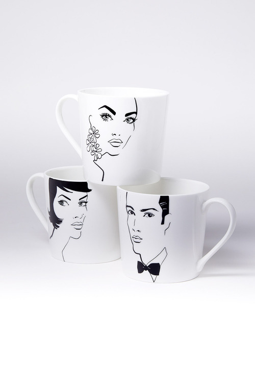 Jayson Brunsdon Bobbed Earrings Black Tie Art Mug Set of Three