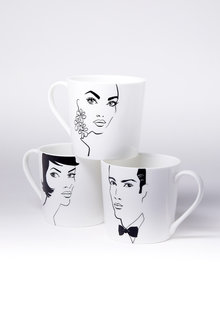 Jayson Brunsdon Bobbed Earrings Black Tie Art Mug Set of Three - 244844