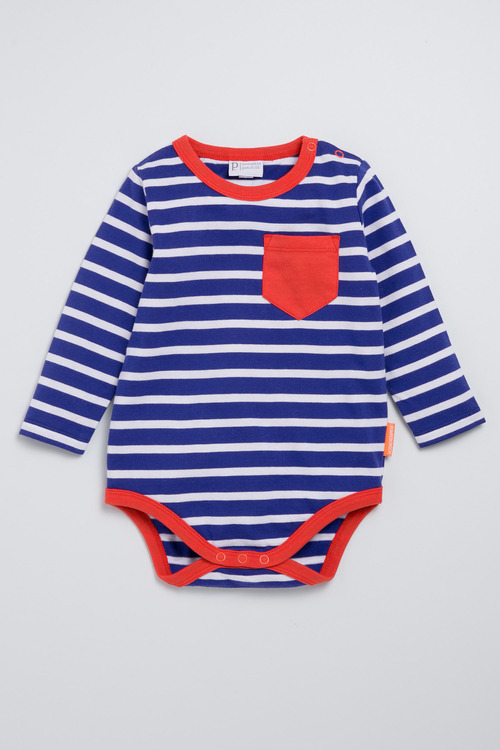 Pumpkin Patch Organic Cotton Stripe Bodysuit with Pocket
