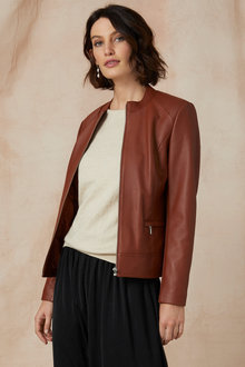 Grace Hill Leather Collarless Jacket - 246427