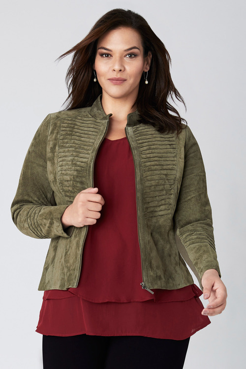 Sara Suede Stitch Panel Jacket