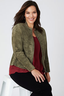 Plus Size - Sara Suede Stitch Panel Jacket