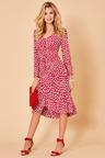 Kaleidoscope Shirred Trim Ruffle Hem Dress