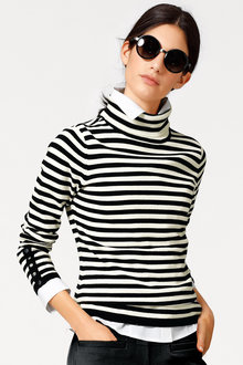 Heine Striped Turtle Neck Pullover - 247095
