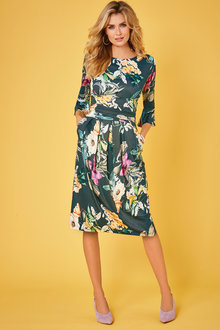 Kaleidoscope Floral Pleat Detail Dress