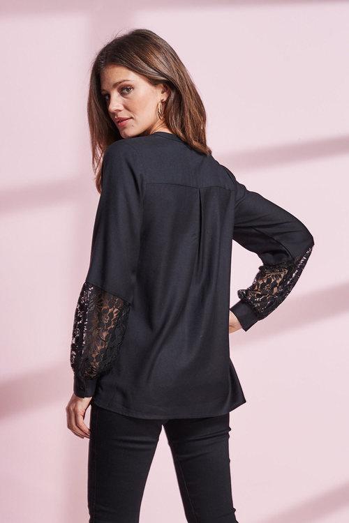 European Collection Lace Trim Shirt