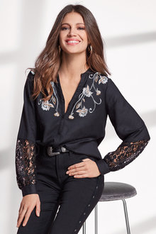European Collection Lace Trim Shirt - 247104