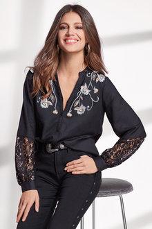 European Collection Lace Trim Shirt - 247104