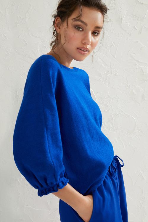 Emerge Balloon Sleeve Boatneck Sweater