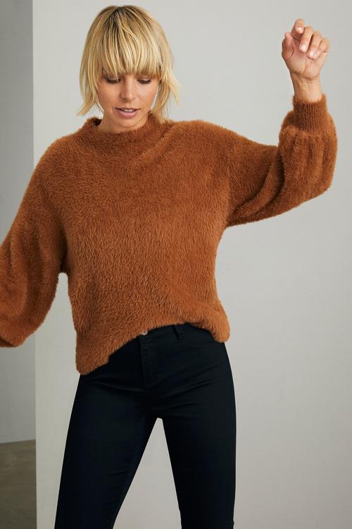 Emerge Fuzzy High Neck Sweater