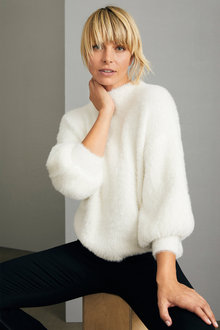 Emerge Fuzzy High Neck Sweater