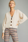 Emerge Crop Ribbed Button Cardigan