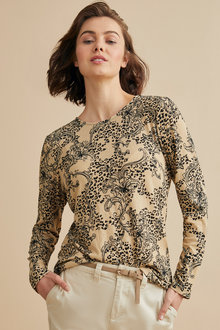 Emerge Knit Printed Long Sleeve Top - 247123