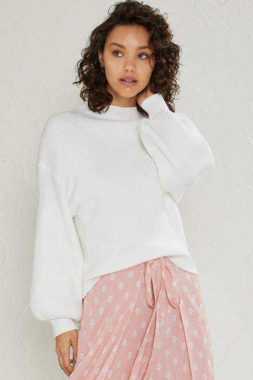 Emerge High Neck Balloon Sleeve Sweater