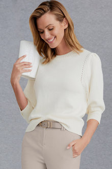Grace Hill Puff Sleeve Sweater - 247154