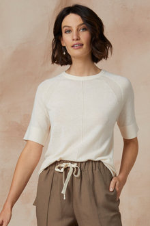 Grace Hill Merino Silk Short Sleeve Sweater - 247157