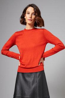 Grace Hill Merino Silk Crew Neck Sweater - 247158