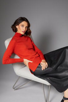 Grace Hill Merino Silk Funnel Neck Sweater - 247159